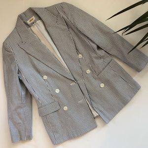 Vintage blue striped longline blazer